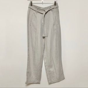 Aritzia Wilfred Grey/Taupe Cropped Linen Pants
